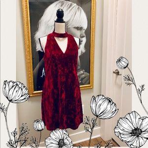 Nicole Miller Purple Velvet Choker Mini Dress Sz 4